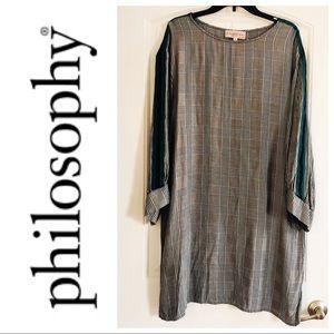 Philosophy Green Grey/White Plaid Tunic Dress